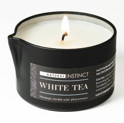 Массажная свеча с феромонами Natural Instinct WHITE TEA - 70 мл.